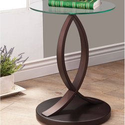 Coaster - Accent Table, Cappuccino - Round accent table with tempered glass top and curvaceous and stylish base in cappuccino.