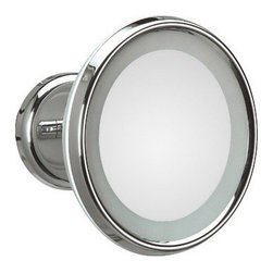 WS Bath Collections - Lucciolo 21-0 Magnifying Mirror 3x with Incandescent Lamp - Lucciolo 21-0 x3 by 9.5 Dia. x 7.1 Extension Magnifying Mirror, with Incandescent Lamp, External Power Supply with Plug, in Chromed Plated Brass and Anodized Varnished