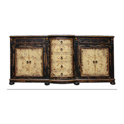 Koenig Collection - Old World Traditional King Lima Sideboard, Black Baroque and Antiqued Cream - Old World Traditional King Lima Sideboard