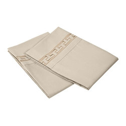 Executive 3000 Series Regal Embroidery Pillowcases, Tan, Standard - The new Executive Series features updated highest quality 100% microfiber pillowcases. The microfibers are 100 times thinner than a strand of hair making the weave impenetrable to allergens and dust mites. These pillowcases feature an embroidered regal geometric pattern on the borders and are comfortable as well as durable. Set includes Two Pillowcases 20x30 each.