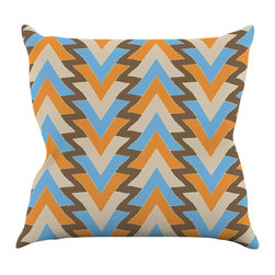 """Kess InHouse - Julia Grifol """"My Triangles in Blue"""" Aqua Orange Throw Pillow (18"""" x 18"""") - Rest among the art you love. Transform your hang out room into a hip gallery, that's also comfortable. With this pillow you can create an environment that reflects your unique style. It's amazing what a throw pillow can do to complete a room. (Kess InHouse is not responsible for pillow fighting that may occur as the result of creative stimulation)."""