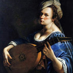 """Artemisia Gentileschi Self-Portrait as a Lute Player   Print - 16"""" x 16"""" Artemisia Gentileschi Self-Portrait as a Lute Player premium archival print reproduced to meet museum quality standards. Our museum quality archival prints are produced using high-precision print technology for a more accurate reproduction printed on high quality, heavyweight matte presentation paper with fade-resistant, archival inks. Our progressive business model allows us to offer works of art to you at the best wholesale pricing, significantly less than art gallery prices, affordable to all. This line of artwork is produced with extra white border space (if you choose to have it framed, for your framer to work with to frame properly or utilize a larger mat and/or frame).  We present a comprehensive collection of exceptional art reproductions byArtemisia Gentileschi."""