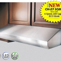 """Kobe - CH2730SQB-1 30"""" Pro-Style Under Cabinet Range Hood With 5 Buttons Electronic Con - This item is for the new and luxurious CH-27 SQB-1 It now features 6-Speeds bright 3 LED lights with 3 level lighting ECO Mode whichruns the fan on the QuietMode setting for 10 minutes every hour to remove excess moisture microscopic particles and od..."""