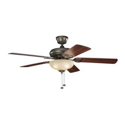 "Kichler - Kichler 339211OZ Sutter Place Select 52"" Ceiling Fan in Olde Bronze 339211OZ - This delicate, 52 inch sutter place select fan features soft lines and clean detailing. Showcased with an olde bronze finish and umber alabaster glass accent, this fixture will beautifully enhance your home.Limited lifetime warrantyAirflow Efficiency CFM Watts: 76 114 169 Amps: 0.49 0.35 0.2 Base Backplate: 5.25 Dia Bulb Type: Incandescent Bulbs Included: Yes CFM: 4500 3196 1602 Collection: Sutter Place Select Country of Origin: China Energy Efficient: No Fan Blade Finish: Walnut Fan Blade Material: MDF Fan Blade Pitch: 12 Fan Blade Span: 52 Fan Light Kit Included: No Fan Motor Size: 153mm x15mm Fan Motor Type: AC Induction Fan Type: Hanging Finish: Olde Bronze Glass: Umber Etched Height: 18 Light Direction: Down Lighting Low Ceiling Adaptable: Yes Number of Blades: 5 Number of Lights: 3 Primary Control System: Pull Chain Remote: No Reversible Blades: Yes RPM: 160 113 62 Safety Rated: Dry Shade Color: White Shade Material: Glass Shade Shape: Bowl Shop By Style: Transitional Socket Type: Candelabra Speeds: 3 Voltage: 120 Wall Control: No Wattage: 40 Watts: 73 32 10 Weight: 18.61 Width: 52 Wire Length: 78"