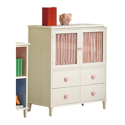 "Coaster - 4 Drawer Chest W/ 2 Doors (Sandy Yellow/Pink) By Coaster - Add this Chest with Doors to your daughters room for a space efficient way to provide organization and style. Four equal sized drawers are a perfect place to store toys, books, or even additional clothes or socks! Located above are two doors, that draw you in with its glass frame window with pink curtains behind for privacy. The entire chest is finished with a lovely, white finish and accentuated with a delicate pink heart-shaped knob on each drawer. What a girly yet sophisticated piece for your daughter's bedroom! Features: White Finish Casual style Tapered thin legs, clean and crisp lines and edges. Pink heart shaped knobs on drawer fronts Four Drawers and Two Doors Specifications: Overall product dimensions: 36""W x 40""H x 18""D"