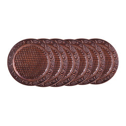 "Old Dutch International - Set/6  13"" Dia. Antique Embossed Heritage Charger Plates - Create an ambiance of elegance for a special occasion with this set of 6 hand-embossed charger plates.  The lovely grapevine design is crafted by skilled artisans, so every piece is unique."