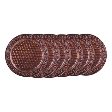 """Old Dutch International - Set/6  13"""" Dia. Antique Embossed Heritage Charger Plates - Create an ambiance of elegance for a special occasion with this set of 6 hand-embossed charger plates.  The lovely grapevine design is crafted by skilled artisans, so every piece is unique."""