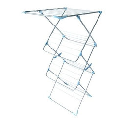 Minky Homecare Easy Loader Indoor Drying Rack - The Minky Homecare Tower Indoor Drying Rack is kind of like cheating. Nothing makes you feel more like an adult than doing laundry; perhaps that's because it is often such an unpleasant and unrelenting chore. But with this drying rack, you can lay your laundry out to dry, freeing you up to go play in the meantime. Hang or flat drying garments and linens isn't just easier; it's also economically and ecologically more efficient, using no electrical energy output. It's also easier on the material itself, helping you extend the life of your textiles. This drying rack provides ample space for handling full loads, while sneaking in a few extra non-energy-consuming features. The four tiers provide plenty of space for flat drying, while the 59 feet of bar space allows for extra room to hang dry items. The tall tower construction requires only a small footprint and is also perfect for long drop items, like jackets, robes, and dresses. And like any good cheat, this dryer can be quickly stowed away when not being used, folded flat for easy storage until it's needed again.About Minky HomecareWith a history that stretches clear back to the mid-nineteenth century, Minky Homecare has the experience and integrity to ensure that your housework is quick and easy. Part of Vale Mill, Minky Homecare is a family owned and run business, which means personal care and commitment to developing the very best cleaning products on the market. From prepacked cleaning cloths to ironing boards, from air driers to household cleaners and organizers, Minky has been on the cutting edge of homecare for over half a century. As a result, they have grown into international markets and have even been granted a warrant by the British Royal Household. With Minky Homecare, housework is a pleasure and does itself when you don't want to.