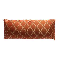 Brandi Renee Designs - Cinnamon Lumbar Pillow - Spice up your interior with this gorgeous accent cushion. The gentle polyfill insert provides generous support and comfort, so it will suit nearly any lounge or sitting area. It is covered in a cinnamon colored fabric that is warm and earthy. A golden lattice print draws attention, without overwhelming the design. This classic design will instantly transform any living space.