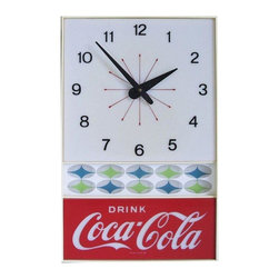Used 1960s Vintage Coca Cola Lighted Clock - This is a groovy 1960s electric, lighted wall clock.  We imagine it hanging in a retro diner, like the on Happy Days!  It uses both neon and incandescent bulbs. There is a light spatter residue on the white and clear plastic panels, not the red.  It is not very evident. It is other wise excellent.  Along with its very Mid-Century pattern design, it keeps good time.  Just think where you might find a spot for it - we think it'd be perfect in the kitchen! It has a 12 foot white cord.