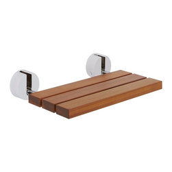 Hudson Reed - Bengal Teak Wooden Folding Wall Mounted Shower Seat with Brushed Nickel Brackets - Taking a shower can be an exhausting experience so you might want to take a load off with this teak wooden seat. The brushed nickel brackets add a contemporary touch and the seat folds up when not in use.