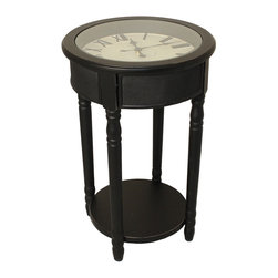 "ecWorld - Urban Designs 26"" Round Wooden Clock Accent Table - Espresso Black - Form and function meet to create this unique accent table. Designed for today's most stylish living room decor it showcases a round working clock with Roman numerals and a tempered glass top that adds a touch of class to the warm espresso finish.   A bottom shelf contributes additional storage space. Ideal next to a sofa or chair."