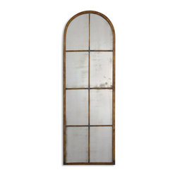 Uttermost - Amiel Maple Brown Wash with Gold Highlights Mirror - This antiqued mirror features a hand forged metal frame finished in a heavy, maple brown wash with gold highlights and burnished details. Sold individually. Shown are three pieces of #13463.