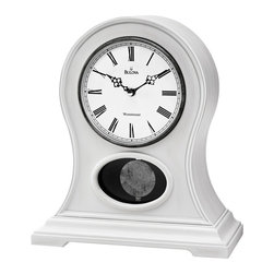 BULOVA - Allaire Antique White Mantel Clock with Triple-chime movement - Solid wood and wood veneer case, antique white finish