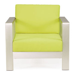 Cosmopolitan Armchair by Zuo Modern - Brushed aluminum curves smoothly around bold cushions. The sexy Cosmopolitan series features an armchair and a sofa with an aluminum frame and water-resistant cushions in orange, green or red.