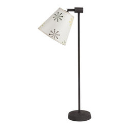 Lights Up! - Zoe Table Lamp - 1 Light - Snowflake - Point your room in a new direction with this table lamp. It's rustic and modern, with a simple base made of dark iron. The shade comes in a range of colors, materials and patterns and attaches to the base on an angle that lets you point light directly where you need it. It's great for reading or shining a light on your favorite decorative objects.