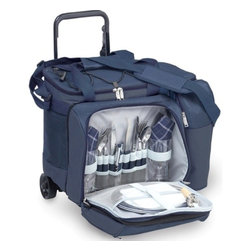 "Picnic Plus - Tango Trolley 2 Person Picnic Tote On Wheels, Navy - Picnic Plus Tango Trolley 2 Person Picnic Tote On Wheels, Navy. Color/Design: Navy; Two separate insulated cooler sections to hold over 22 cans; Removable adjustable height trolley; Exterior is made with durable 600D polyester; Carry handles and adjustable shoulder strap; Fully insulated front wine/beverage pocket has a full zip closure; With 2 separate insulated food compartments, and a leak proof liner; Zip on/off component case converts this set into a cooler on wheels; With a set of 2: acrylic goblets, melamine plates, cotton napkins, stainless steel flatware, corkscrew bottle opener, bottle stopper, easy to clean nylon cutting board and cheese knife. Dimensions: 16""W x 11""D x 15""H"
