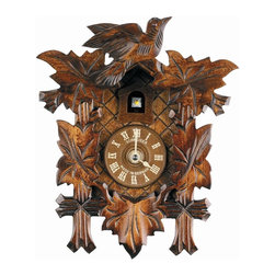 Schneider Cuckoo Clocks - Quartz Clock in Antique Finish - Chalet style. Wooden cuckoo, dial with roman numerals and metal hands. Does not come with music, cuckoo calls or doors. Made from wood. Made in Germany. 7.3 in. W x 3.7 in. D x 9.1 in. H (1.3 lbs.). Care Instructions