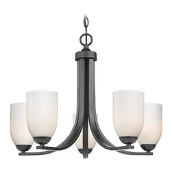 Design Classics Lighting - Modern Black Chandelier Opal White Glass Shades and Five Lights - 584-07 GL1024D - Chandelier in matte black with shiny opal white dome glass shades. Includes 6 feet of chain and seven feet of wire. Takes (5) 100-watt incandescent A19 bulb(s). Bulb(s) sold separately. UL listed. Dry location rated.