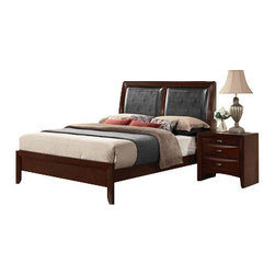 """Acme - 5-Piece Ireland Collection Espresso Finish Wood Queen Bed Set - 5-Piece Ireland collection espresso finish wood queen bed set with black leather like panel headboard. This set includes the queen bed set, one nightstand, dresser, mirror and chest. Queen bed set with black leather like panel headboard. Nightstand measures 26"""" x 17"""" x 25"""" H. Dresser measures 59"""" x 17"""" x 41"""" H. Mirror measures 39"""" x 35"""" H. Chest measures 32"""" x 17"""" x 48"""" H. Some assembly may be required. Cal king and Eastern king available at additional cost."""