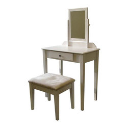 ORE International - Country Make-Up Vanity Table Set w Mirror and - Includes vanity table, mirror and matching cushioned stool. Spacious table top with one drawer. Designed to last for years. Matches design on padded, upholstered stool. 30 days warranty. Made from strong wood and wood composite. 28 in. L x 16 in. W x 50.5 in. H (40 lbs.)This product is crafted to be practical and stylish. Bring a timeless country style into your bedroom with this vanity set. With a wide tabletop, drawer space, a stylish seat and a large mirror, there is no better spot to place your feminine odds and ends than on this bowed top ladies vanity. You can also conveniently store your accessories in its drawer. With its simple yet beautiful design, this bedroom furniture spells style and classic sophistication. You will enjoy lingering on this vanity drawer as you beautify yourself in the morning.
