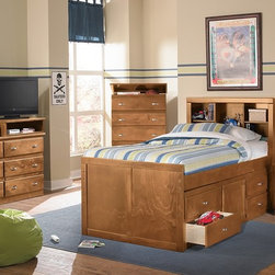 The Varsity Pine Kids Bedroom Collection - Win-Win. Bring home a youth bed that is both sporty and spiffy with our Varsity Pine collection! Durably constructed with hardwood solids and topped by warm, pine-finished veneers, this bed can withstand the wear-and-tear of kids and look great at the same time. The sturdy bookcase bed features options for two and four storage drawers as well as a pull-out trundle with three drawers.