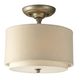 """Progress Lighting - Progress Lighting P3886-134 Ashbury 10"""" Two-Light Semi-Flush Mount Ceiling - Add charm and style to any home with this delicate two light semi-flush ceiling fixture from the Ashbury collection. Featuring a unique double-drum shade with thistle weave and toasted linen fabric, this fixture creates a luxurious atmosphere for any dining room, living room, foyer, or other area.Features:"""