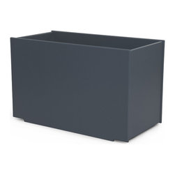 Loll Designs - Mondo Double Planter 28 Gallon, Charcoal Grey - We took our 100% recycled containers and decided that the best interior liner would be something that already exists and is readily available to everyone. The Loll Mondo Collection was designed to work with 5 gallon pickle buckets. 5 gallon buckets are an easy way to move plants around when the weather turns cold or you feel like rearranging. Containers can be used without the liner buckets too, giving you even more options. Buckets not provided. Single, double, and triple units are available.