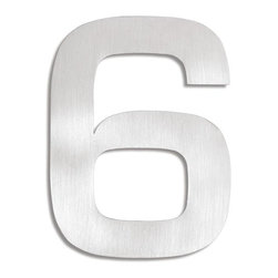Blomus - Signo Stainless Steel House Number 6 - Includes mounting kit. Product is elevated from surface. Includes template, 2 pegs and set screws. Made of stainless steel, matte finish. 1-Year manufacturer's defect warranty. 5.93 in. H