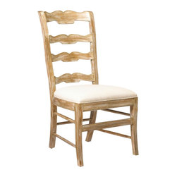 French Heritage - Beaujolais Ladderback Side Chair, Gold Dust - This ladderback chair, with its scalloped beveled carving and rush seat, invites the comfort of the French Country atmosphere into the home; sit and enjoy the feeling of bright sunshine and gracious living. -Weight: 20lbs