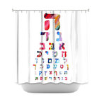 DiaNoche Designs - Shower Curtain - Hebrew Alphabet Rainbow - DiaNoche Designs works with artists from around the world to bring unique, artistic products to decorate all aspects of your home.  Our designer Shower Curtains will be the talk of every guest to visit your bathroom!  Our Shower Curtains have Sewn reinforced holes for curtain rings, Shower Curtain Rings Not Included.  Dye Sublimation printing adheres the ink to the material for long life and durability. Machine Wash upon arrival for maximum softness on cold and dry low.  Printed in USA.