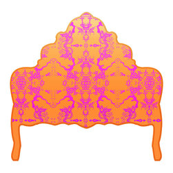gLaM-a-PeeL Wall Decal Headboard Collection - Chinoiserie Curvy ORANGE and PURPLE - Wall Decal Headboard