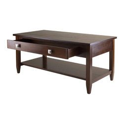 "Winsome Wood - Winsome Wood Richmond Coffee Table with Antique Walnut Finish X-04149 - Richmond Coffee Table has clean profile, perfect for living or family room.  This compact console offers layers of function with one larger drawer and a bottom shelf.  Overall table size is 40""W x 20.53""D x 18.11""H.   Table Top Dimension is 40""W x 20""D.  Drawer inside dimension is 28.82""W x 11.29""D x 2.59""H. Shelf size is 37.95""W x 15.27""D.  Clearance from apron to shelf is 7.87"".  Constructed with combination of solid and composite wood in warm Antique Walnut finish.  Assembly Required."