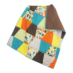 abbey's house - Baby/toddler quilt-Cameras - This quilt is all centered around the camera patterned fabric. The thimble shape is a fun way to display each fabric and the colors give it a fun retro yet modern look. Perfect for any picture perfect baby. Great size for a baby to toddler.