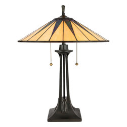 Quoizel - Quoizel Vintage Bronze Lamps - SKU: TF6668VB - This distinctive style is a great way to bring the drama of Tiffany glass into a contemporary or modern room setting. The hand-cut, iridescent art glass is arranged to form a slender triangle pattern in shades of rich ebony and warm yellow. Simply stunning.