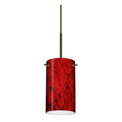 """Besa Lighting - Besa Lighting 1BC-4404MA-LED Stilo 1 Light LED Cord-Hung Mini Pendant - Stilo 7 is a classic open-ended cylinder of handcrafted glass, a shape that will stand the test of time. Our Magma glass is a fiery red cased glass, with inner opal and a glossy finish. The deep red color is accented by flowing marbleized black lines, and nestled between the inner opal and outer clear layers. When lit the glass is vitalizing as well as stylish, that adds appeal to any environment. This blown glass is handcrafted by a skilled artisan, utilizing century-old techniques passed down from generation to generation. Each piece of this decor has its own artistic nature that can be individually appreciated. The cord pendant fixture is equipped with a 10' SVT cordset and an """"Easy Install"""" dome monopoint canopy.Features:"""