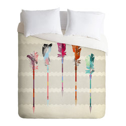 DENY Designs - Iveta Abolina Feathered Arrows Duvet Cover - Turn your basic, boring down comforter into the super stylish focal point of your bedroom. Our Luxe Duvet is made from a heavy-weight luxurious woven polyester with a 50% cotton/50% polyester cream bottom. It also includes a hidden zipper with interior corner ties to secure your comforter. it's comfy, fade-resistant, and custom printed for each and every customer.