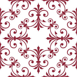 Odhams Press - Hobson Red RETile Decal, Clear Background - RETile decals can be used to accent or transform your existing ceramic, stone or glass tiles. They are easy to apply and can be removed in the future without leaving a sticky residue.