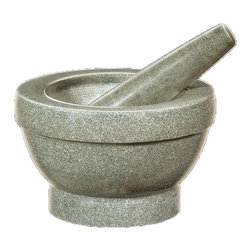 Frieling - Mortar & Pestle, Giant - Each mortar is cut from one solid piece of natural granite or marble for longevity. Like all cilio mortars & pestles, these mortars feature an untreated, coarse inside to facilitate grinding, and their tall walls wont let ingredients escape.  The pestles are heavy, yet comfortably shaped.