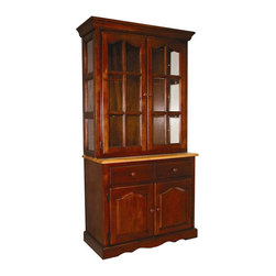 Sunset Trading - Sunset Trading Brentwood China Cabinet - SET010 - Shop for China from Hayneedle.com! What We Like About This China CabinetA versatile cabinet for storage and display! The Brentwood China Cabinet features a hutch with two glass shelves lined with plate rails for displaying china. Set dinnerware or decorations on three levels as desired. The buffet below has a fixed wooden shelf that keeps dinnertime necessities within easy reach. Silverware and smaller items fit conveniently into two slide-out drawers. A durable rubberwood construction with your choice of finish is allows you to coordinate with your existing decor.About Sunset TradingThis product is designed and manufactured by Sunset Trading. Located in Londonderry New Hampshire Sunset Trading creates high quality furniture for bedrooms living and dining rooms. Their furniture features side roller drawer guides four corner English dovetails solids and veneers. Dining rooms feature epoxy resin constructed chairs with metal support brackets which make their chairs 100 times stronger than glued chairs. Rest assured you're making an excellent choice when you purchase a fine furniture item from Sunset Trading.