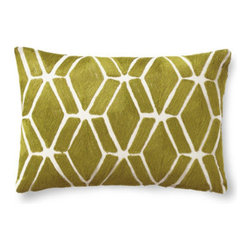 Grandin Road - Embroidered Fretwork Pillow - Designer-inspired lumbar pillow embroidered with an elegant geometric pattern. Natural cotton ground and backing. Hidden zipper; down-filled insert included. Coordinates perfectly with both designs of our Embroidered Jardin Lumbar Pillows. Add a welcome burst of color and texture to your seating with our embroidered Fretwork lumbar pillow. The geometric fretwork design is substantially embroidered in a refreshing hue of citrus green.  .  .  .  . Imported