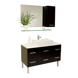 Fresca - Distante Espresso Vanity w/ Mirror & Side Cabinet Diveria Chrome Faucet - Beautifully understated with simple chic design.  However it's the little details like cultured marble countertop (white) and a gently scalloped basin that complete this espresso finished vanity.  Many storage drawers underneath make this vanity great for a larger bathroom and gives a great feeling of home with its dresser like appearance.  Great for any decor, and for those looking to update their space with something simple, minimalistic yet dashingly handsome.  Many faucet styles to choose from.
