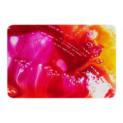 """KESS InHouse - Malia Shields """"The Color River"""" Red Pink Memory Foam Bath Mat (24"""" x 36"""") - These super absorbent bath mats will add comfort and style to your bathroom. These memory foam mats will feel like you are in a spa every time you step out of the shower. Available in two sizes, 17"""" x 24"""" and 24"""" x 36"""", with a .5"""" thickness and non skid backing, these will fit every style of bathroom. Add comfort like never before in front of your vanity, sink, bathtub, shower or even laundry room. Machine wash cold, gentle cycle, tumble dry low or lay flat to dry. Printed on single side."""
