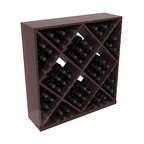 Solid Diamond Wine Storage Cube in Redwood with Walnut Stain + Satin Finish - Elegant diamond bin style bottle openings make for simple loading of your favorite wines. This solid wooden wine cube is a perfect alternative to column-style racking kits. Double your storage capacity with back-to-back units without requiring more access area. We build this rack to our industry leading standards and your satisfaction is guaranteed.