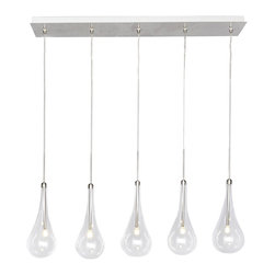 ET2 Lighting - Polished Chrome Larmes LED 5 Light 1 Tier LED Linear Chandelier - Product