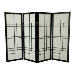 Oriental Unlimted - 4 ft. Low Contemporary Eudes Shoji Screen (4 Panels / Black) - Finish: 4 Panels / BlackThe Eudes shoji screen is a wonderful display of Japanese Edo period influences in the lattice panels. A black frame adds distinctive styling and at 48 inches high, it will add a decorative touch to any decor. Rice paper insets have light-diffusing properties. Screens may vary slightly in color. A miniature counterpart to our popular full size Eudes Shoji Screen. The Eudes design is a contemporary art deco version of traditional shoji screens. The low height is perfect for hiding unsightly areas, fireplaces and kids' play areas. Ideal for adding a new design element to your space. Provides privacy. Shade is strong. Fiber reinforced pressed pulp rice paper allows diffused light. Crafted from durable and lightweight Scandinavian Spruce. Panels are constructed using Asian style mortise and tenon joinery. Lacquered brass. 2-way hinges mean you can bend the panels in either direction. Black finish. Assembly required. Each panel: 17.5 in. W x .75 in. D x 48 in. H. 4 Panels: 72 in. wide (flat). Approximately 60 in. wide (folded to stand upright)