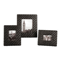 Weathered Dark Brown Leather Woven Photo Frames Set of 4 - *Woven, faux leather straps finished with a weathered, dark coffee stain and a light tan glaze.