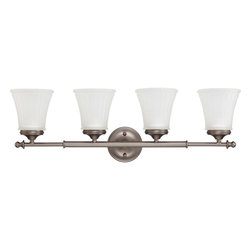 Nuvo Lighting - Nuvo Lighting 60-4014 Teller 4-Light Vanity Fixture with Frosted Etched Glass - Nuvo Lighting 60-4014 Teller 4-Light Vanity Fixture with Frosted Etched Glass