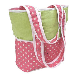 Hoohobbers - Hoohobbers Daisy Tote Diaper Bag with Optional Personalization - 261-37 - Shop for Diaper and Bottle Bags from Hayneedle.com! Looking for a diaper bag that works hard and looks great? Try the Hoohobbers Daisy Tote Diaper Bag. Let's start with how hard it works: The double straps fit over your shoulder or over the handles of your stroller. The interior is lined with wipe-clean nylon so it's incredibly durable; it won't rip or leak like vinyl or fabric alternatives do. The exterior has four pockets: one side has a full-width zippered pocket for your valuables and the other side has three open pockets for bottles wipes tissues or whatever you need to grab quickly. And forget that spot-cleaning nonsense this bag goes right into your washing machine. With that much functionality you could almost forget about how good this bag looks but let's not. The bottom panel and straps have a fun pattern of tiny daisies in a sea of pink and the top panel is made of beautifully coordinated kiwi-green linen. It tells the world you've got a girl without being over-the-top frilly. You know you're working hard and looking good; shouldn't your diaper bag do the same? Get the best of both worlds with the Hoohobbers Daisy Tote Diaper Bag.About HoohobbersBased in Chicago Hoohobbers has designed and manufactured its own line of products since 1981 beginning with the now-classic junior director's chair. Hoohobbers makes both hard goods (furniture) and soft goods. Hoohobbers' hard goods are not your typical furniture products; they fold are lightweight and portable and are made to be carried by children all around the house. Even outdoors Hoohobbers' hard goods are 100 percent water-safe. At the same time they are plenty durable and can take the abuse children often give. Hoohobbers' soft goods are fabric items ranging from bibs to bedding from art smocks to Moses baskets.Hoohobbers' products are recognized by independent third parties for their quality and performance. Hoohobbers 