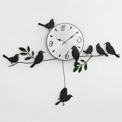 Free Shipping, 100% Mute Little Bird Wall Clock, Black Wall Clock - This wall clock is so nice an option for living room and is easily match with your existing colorsin the room!